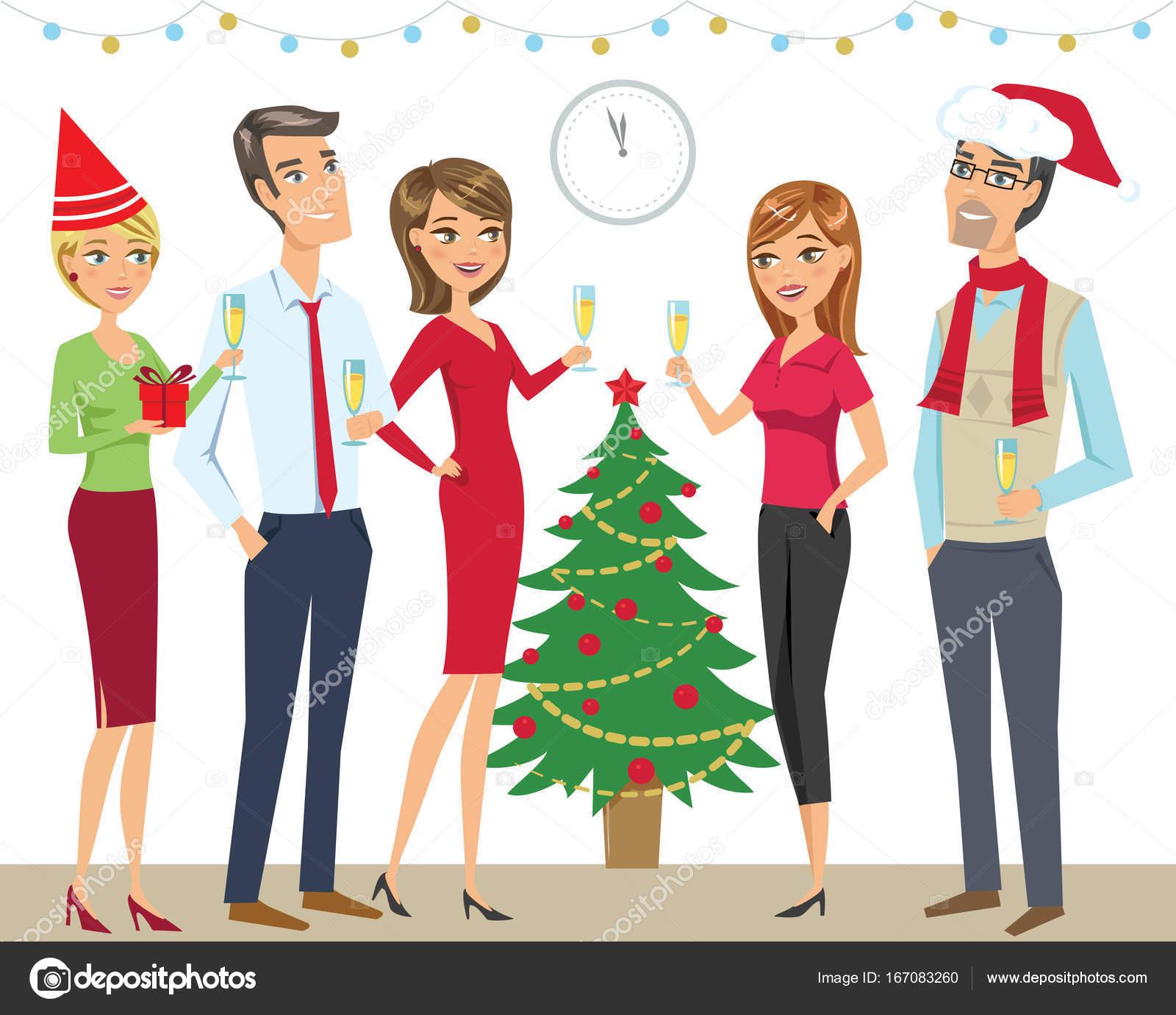 Grupo Pessoas Amigos Colegas Comemoração Ano Novo Natal