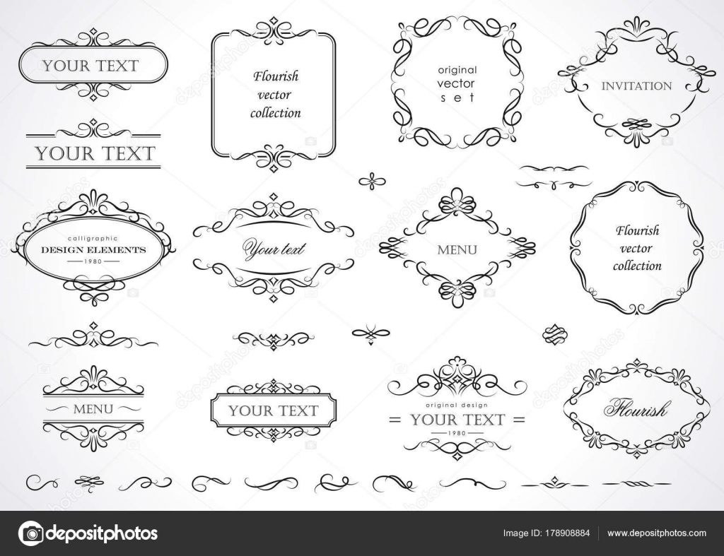 Set Flourish Frames Borders Labels Collection Original Design ...