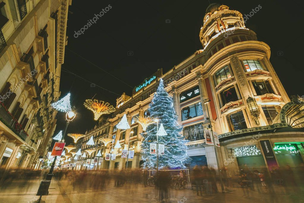 BARCELONA, SPAIN - DECEMBER 26, 2015: Christmas decorations and street lights in Barcelona, Spain. Night time.
