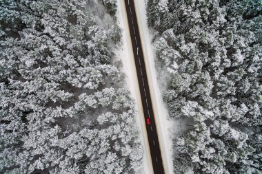 Highway, winter scene, aerial view