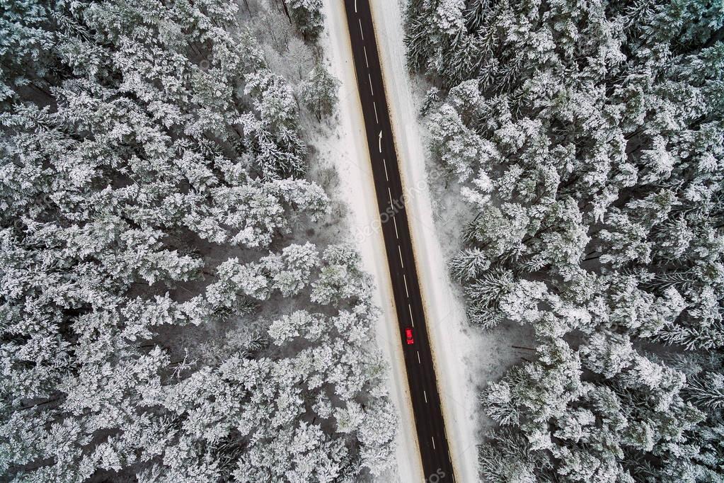 Highway, winter scene, aerial view