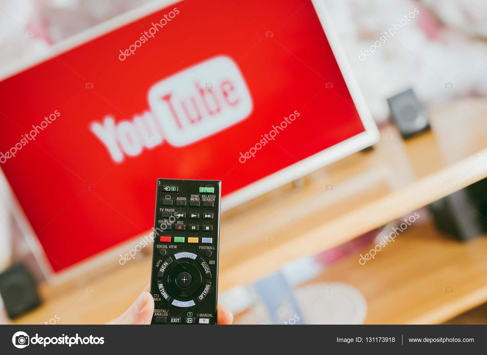YouTube app on Sony smart TV – Stock Editorial Photo