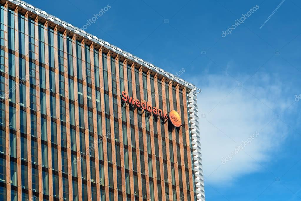 VILNIUS, LITHUANIA MAY 12, 2017: Swedbank office exterior. Swedbank AB, Nordic-Baltic banking group based in Stockholm, offering retail banking, asset management and financial