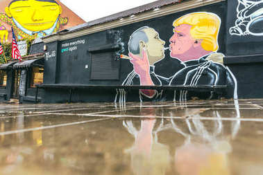 Donald Trump kissing Vladimir Putin mural, street art, Vilnius, Lithuania