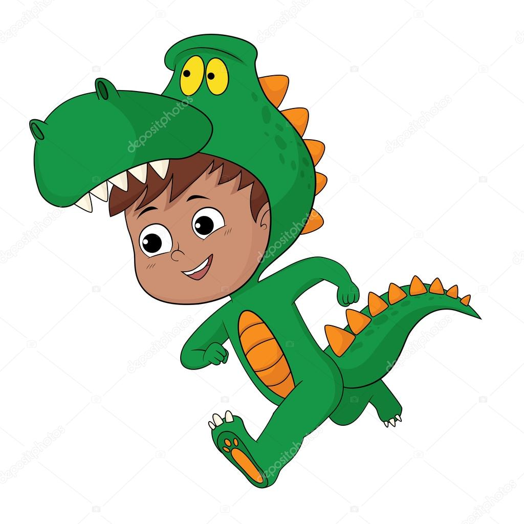 Cute kid put up a dragon costume in halloween party. u2014 Stock Vector  sc 1 st  Depositphotos & Cute kid put up a dragon costume in halloween party. u2014 Stock Vector ...
