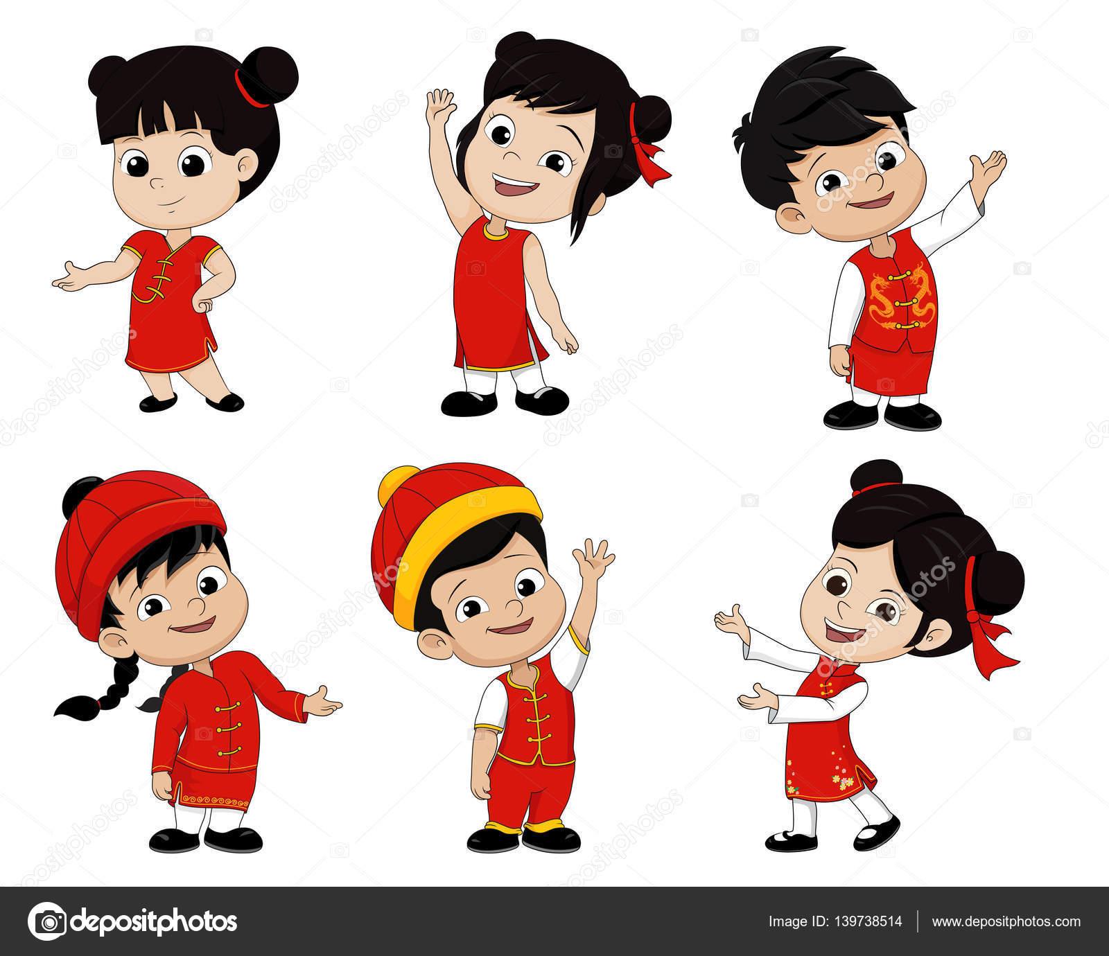 Satz von Cartoon chinesische Kinder, frohes neues Jahr — Stockvektor ...