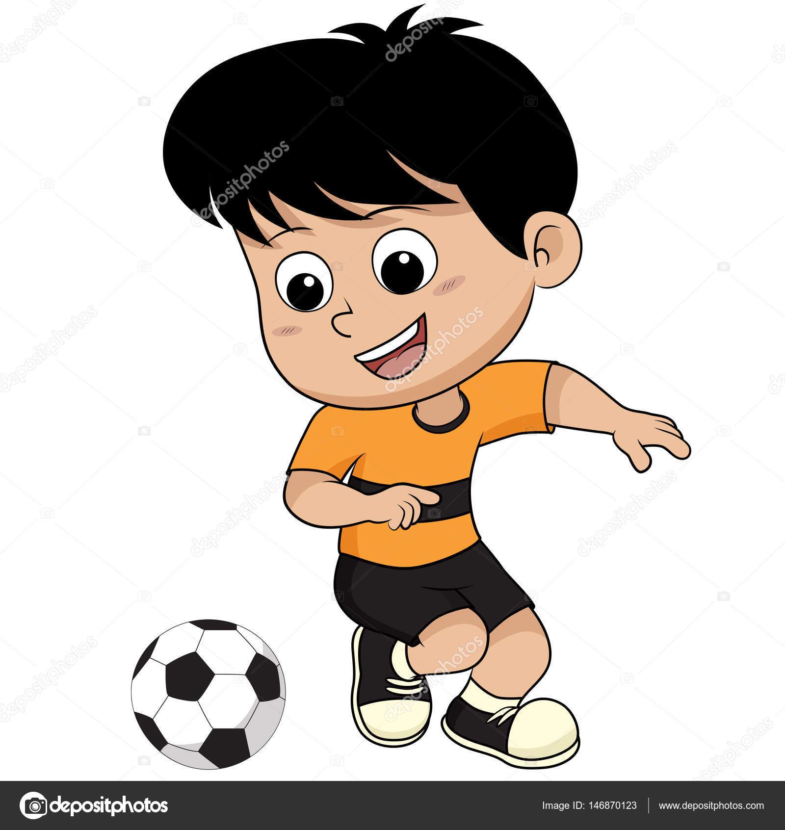 Cartoon Kid Play Soccer