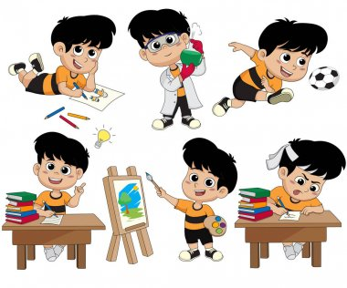 Back to school.A cute kid with different pose.
