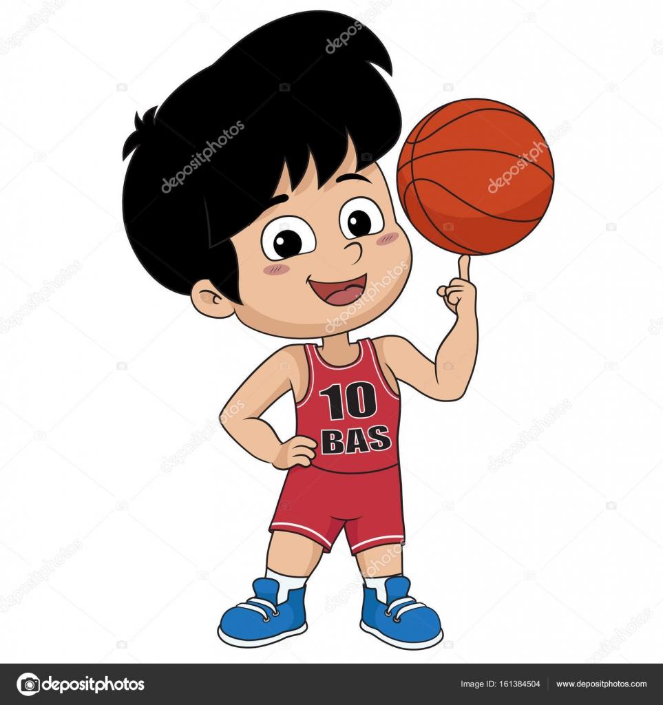 Rebenok Igraet Basketball Vector I Illyustracii Vektornoe