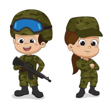 Set of soldiers.Cartoon character design isolated on white backg