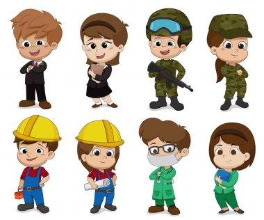 Kid of different professions such as business,Soldier,Engineer,Doctor.