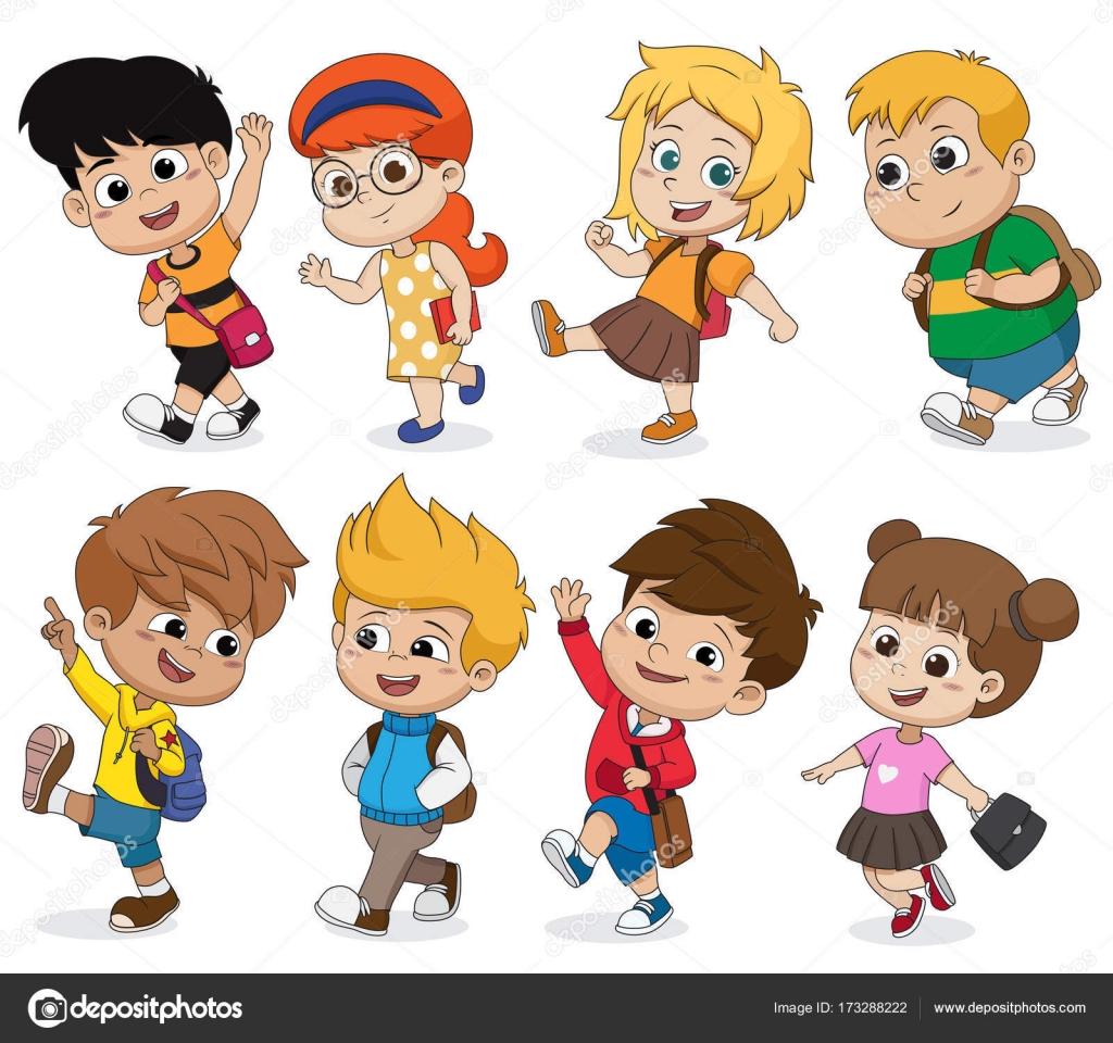 Niños Caminando A School.back A La Escuela. Vectorial Y La