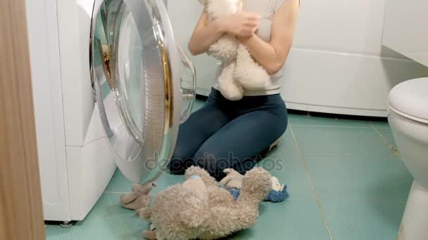 Hausfrau füllt Waschmaschine aus Wäschekorb Stofftiere und schließt Maschinentür