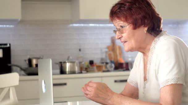 alte Frau spricht mit ihrer Enkelin per Skype mit einem Laptop