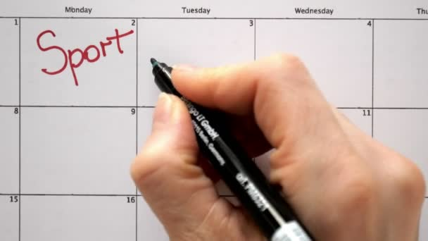 Sign the day in the calendar with a pen, draw a sport