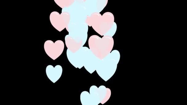 Létající srdce na průhledném pozadí. 2d ilustrovaná animace