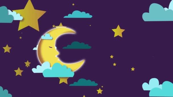 Rajzfilm animáció az éjszakai égbolt a mozgás a felhők és a hold, elvont háttér. mozgókép