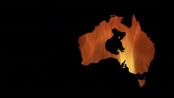 Fires in Australia. Video in motion vector illustration.