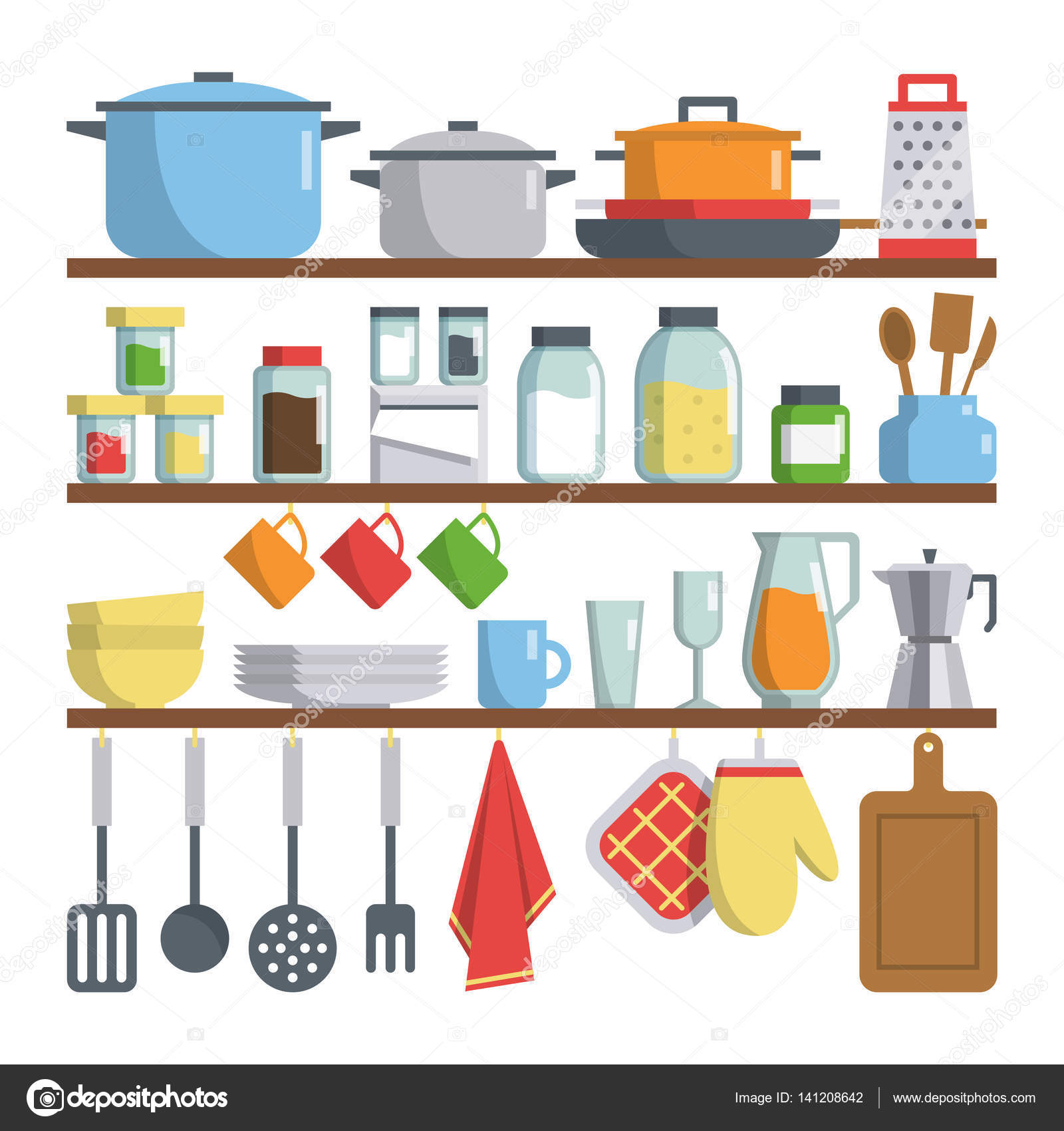 Kitchen Equipments On Shelf Illustration