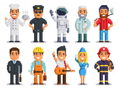 Pixel art characters professions people isolated set