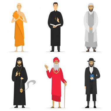 Isolated religion ministers. Monks and priest.