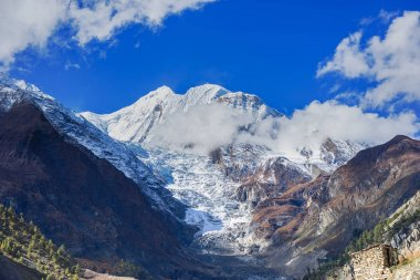 Mountains  with snowy peaks  in Manang. Nepal, Annapurna circle.