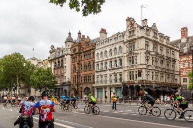 London, UK - 29 July, 2018: Bicycle marathon in center of London.