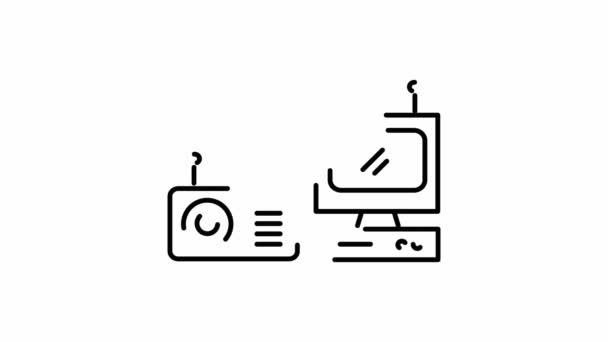 Rádió- és TV-vel, egy 2D-s animáció a körvonal ikonra
