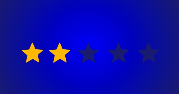 5 Star Rating Bestseller Symbol Given By Business Man Hand Sweeping In 2D Animation With Blue Background