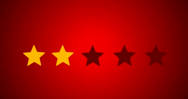 5 Star Rating Bestseller Symbol Given By Business Man Hand Sweeping In 2D Animation With Red Background
