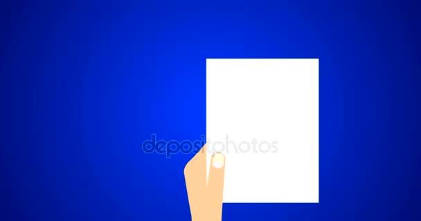 Flache Vektor Animation Footage der Geschäftsmann hält Vertrag ein Vertrag unterzeichnet-Papier, juristisches Dokument-Symbol mit Stempel und Dokumentation in blau
