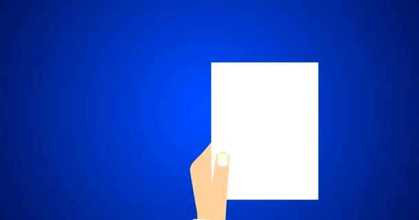 Rechtsdokument Vertrag und Vereinbarung Symbol mit Stempel auf weißem Papier flach Vektor 4k Animation in blau