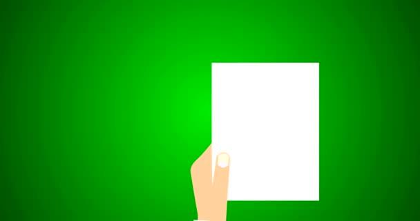 Szerződés jogi dokumentum, és a megállapodás szimbólum bélyeg a fehér könyv lapos Vector 4k animáció zöld