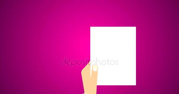 Rechtsdokument Vertrag und Vereinbarung Symbol mit Stempel auf weißem Papier flach Vektor 4k Animation in lila