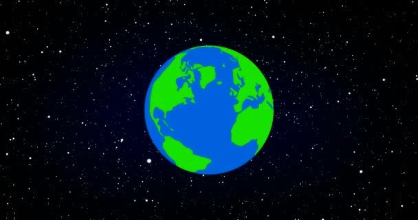 Rostlina zemi světa rotující prostorem s prostorem a hvězdy v laďěnou 3d tavené animace kreslený styl Severní zaměření