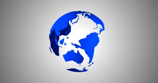 Planeta země světa moderní novinky pozadí bezproblémovou 3d vykreslení vektorové animace v modrém