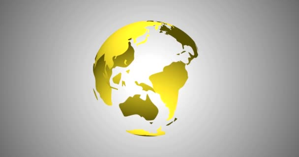 Planet Earth Globe Modern News Background Seamless 3D Rendered Vector Animation in Gold Yellow