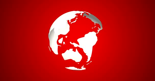 News Intro With Rotation Planet Earth Globe With Planets Highlighted 3D Rendered Animation Classy White on Red