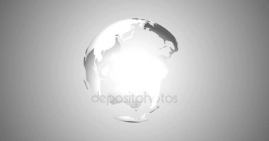 News Intro With Rotation Planet Earth Globe With Planets Highlighted 3D Rendered Animation in White Material Design