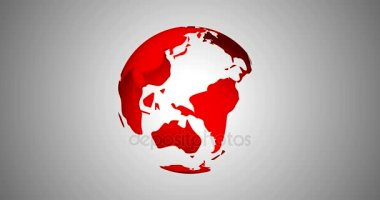 News Intro With Rotation Planet Earth Globe With Planets Highlighted 3D Rendered Animation in Red