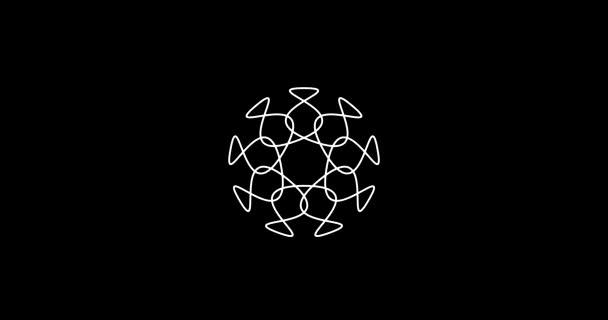 Abstraktní Mandala přesouvání obrazců minimální pozadí animace s místem pro loga bílé na černém