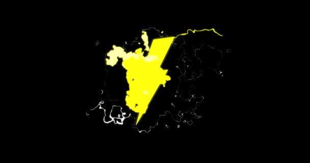 Villamos energia villám szikra villog a képernyőn, a kék és a sárga Cgi megjelenített rajzfilm animáció