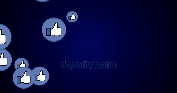 Jako tlačítko koncept pro sociální sítě úspěch - 4k vykreslení videa animace na tmavě modrém pozadí