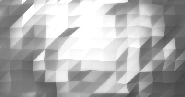 Low Poly Glowing Geometric Background as Rendered Animation Video in White and Grey Silver Look