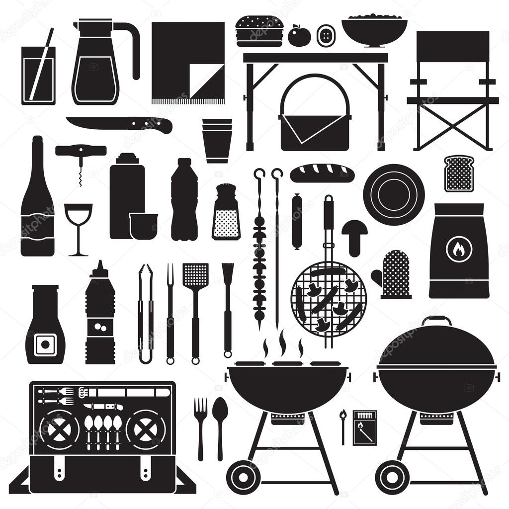 Picnic and Barbeque Outline Elements