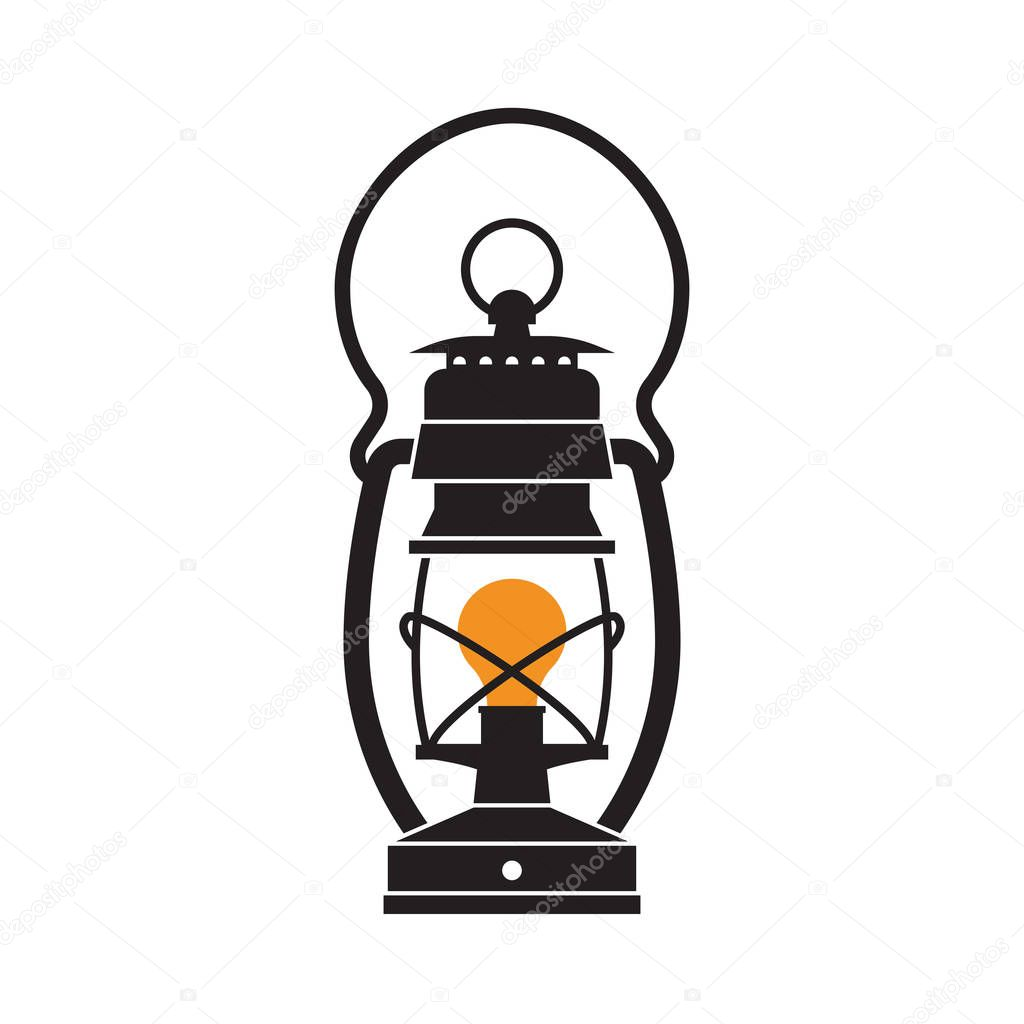 Retro Gas Lamp With Glowing Fire Wick Oil Lantern Outline Vector Illustration Old For Hiking By Krugli86gmail