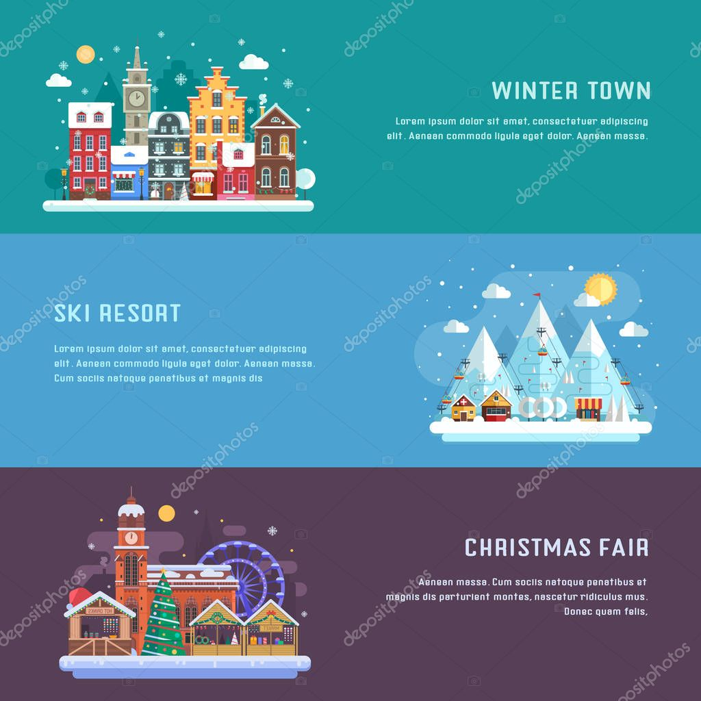 New Year and Winter Travel Banners