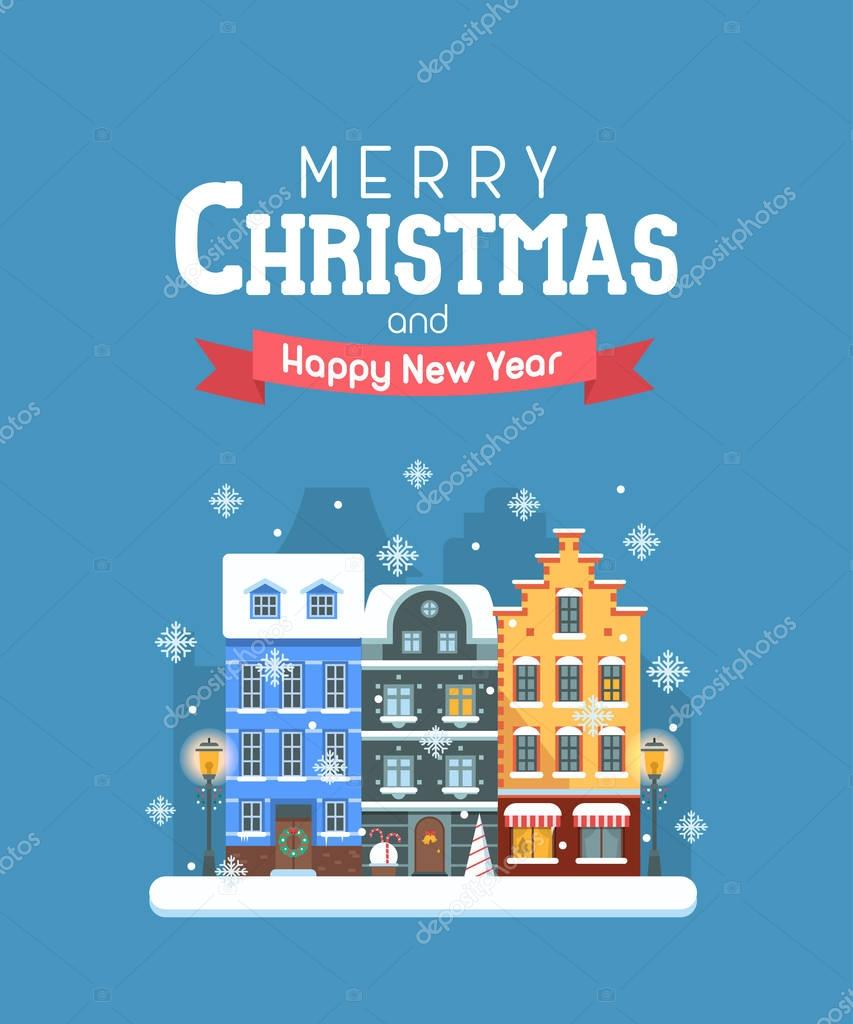 New Year And Christmas Greeting Card Stock Vector Krugli86gmail