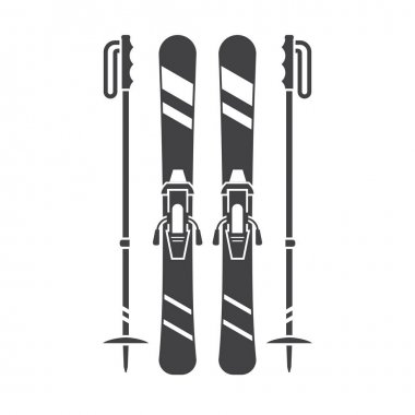 Mountains Skis Vector Icon