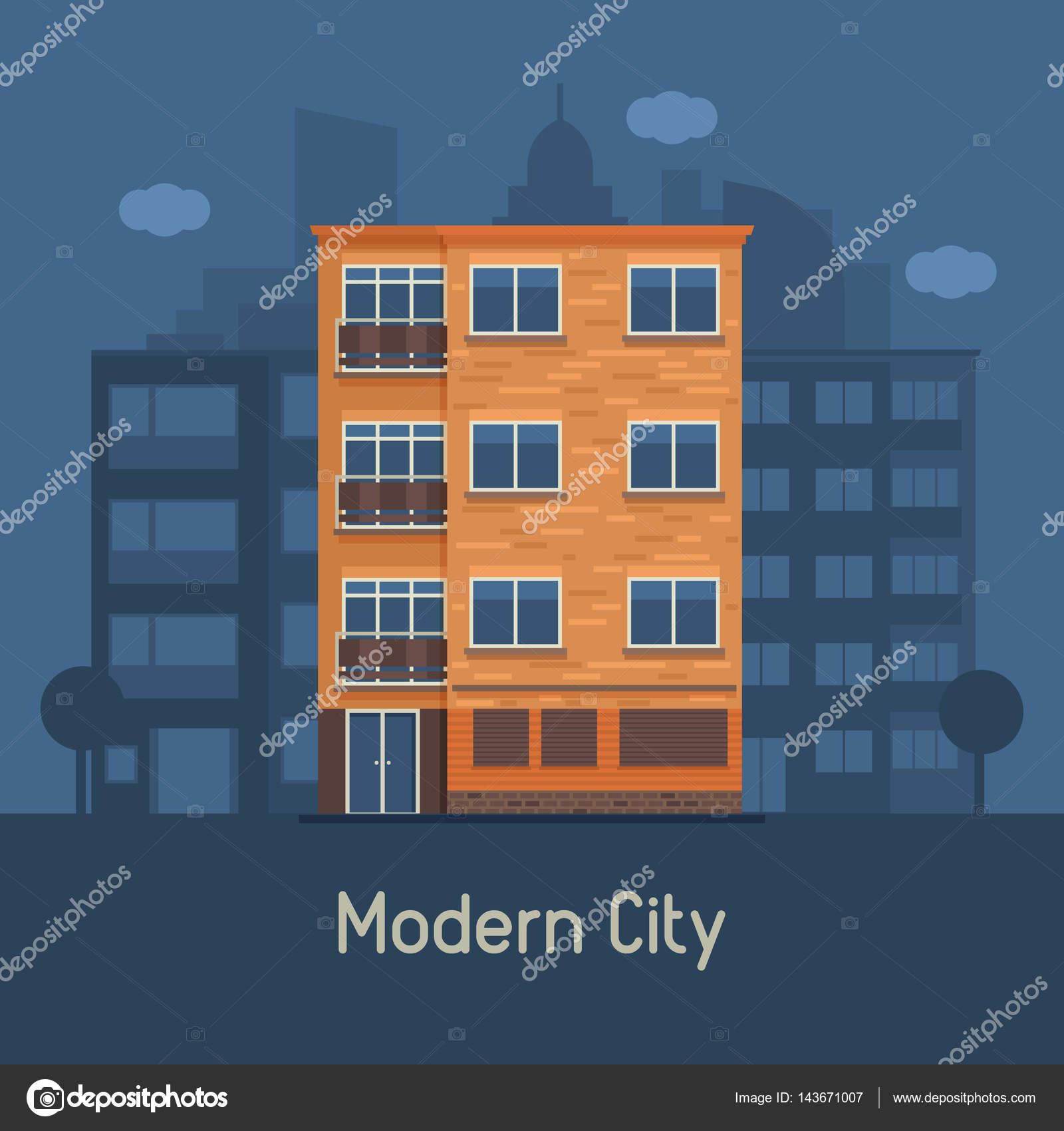 Maison moderne de plusieurs étages sur fond de ville — Image ...